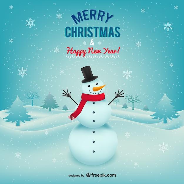 Weihnachtskarte mit schneemann Kostenlosen Vektoren