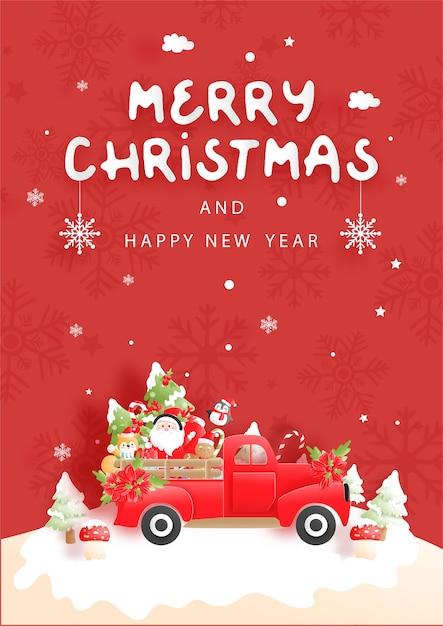 Weihnachtskarte mit vintage-lkw Premium Vektoren