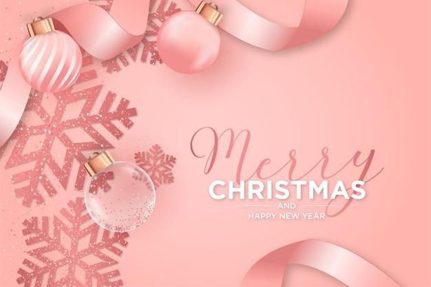 Weihnachtskarte mit weihnachtlicher rosa dekoration Kostenlosen Vektoren