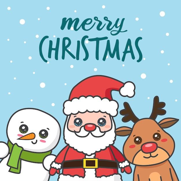 Weihnachtskarte mit weihnachtsmann mit hirsch und schneemann Premium Vektoren