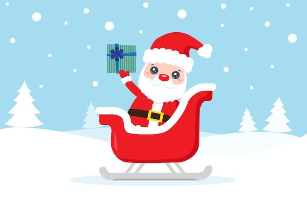 Weihnachtskarte mit weihnachtsmann und geschenk auf dem schnee Premium Vektoren