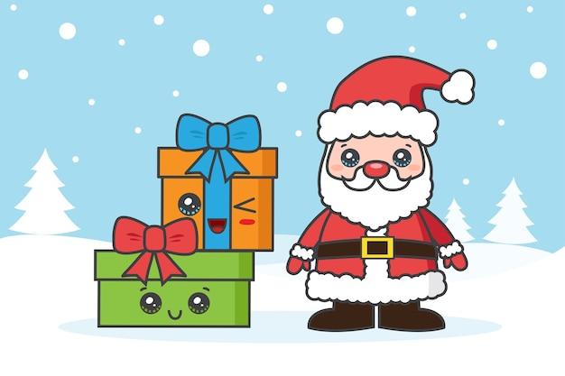 Weihnachtskarte mit weihnachtsmann und gfits auf dem schnee Premium Vektoren