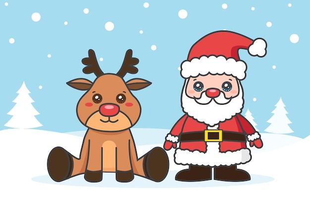 Weihnachtskarte mit weihnachtsmann und hirsch auf dem schnee Premium Vektoren