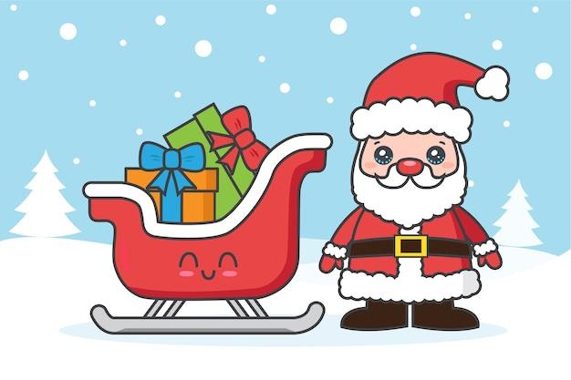 Weihnachtskarte mit weihnachtsmann und schlitten auf dem schnee Premium Vektoren