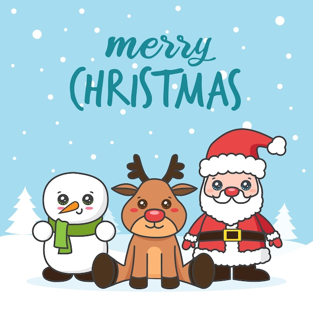 Weihnachtskarte mit weihnachtsmann und schneemann auf dem schnee Premium Vektoren