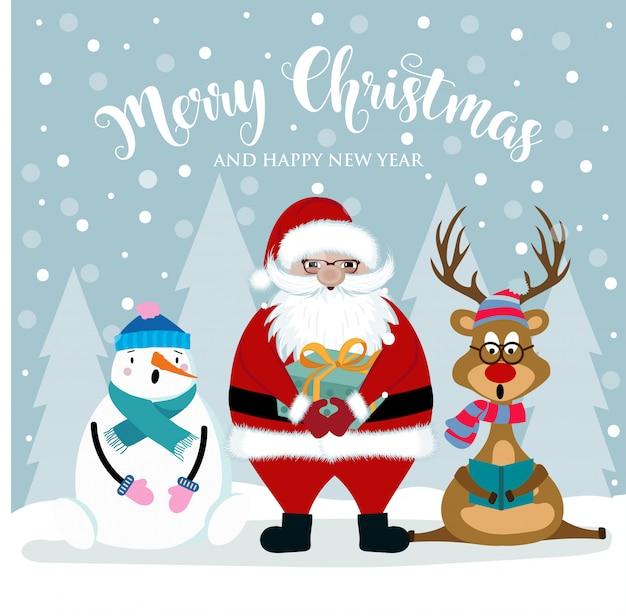 Weihnachtskarte mit weihnachtsmann Premium Vektoren