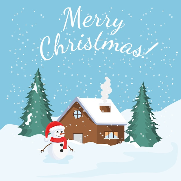 Weihnachtskarte mit winterlandschaft Premium Vektoren