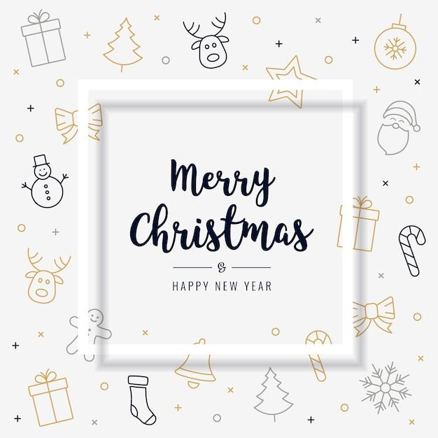 Weihnachtskarte Symbol Elemente goldener schwarzer Text Gruß ...