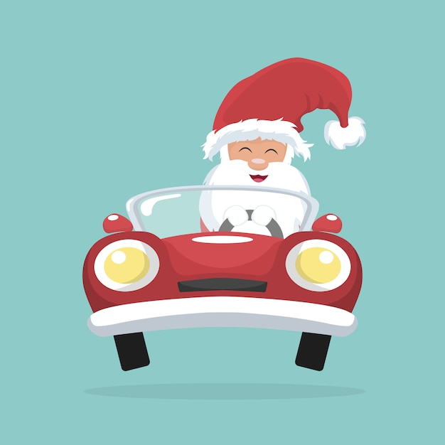 Weihnachtskarte von santa claus, die sein auto fährt Premium Vektoren