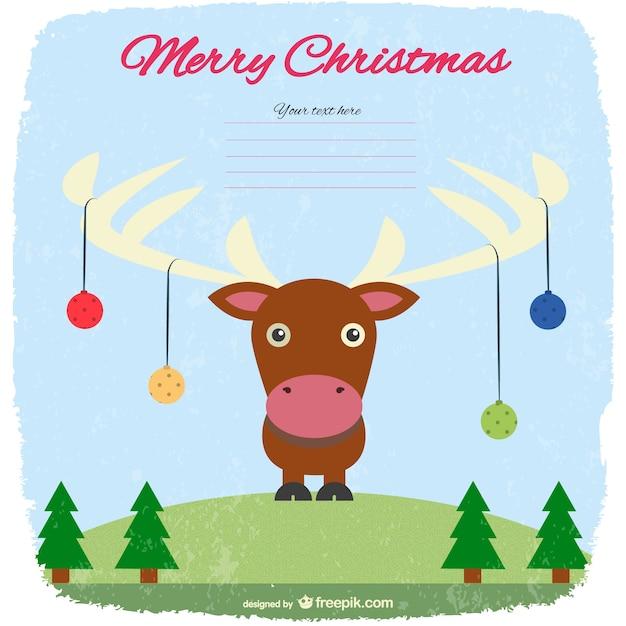 Weihnachtskarte vorlage mit rentier download der kostenlosen vektor - Vorlage weihnachtskarte ...