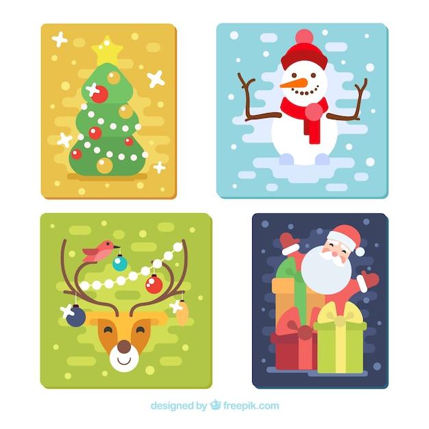 weihnachtskarten mit zeichen und weihnachtsbaum in flaches. Black Bedroom Furniture Sets. Home Design Ideas