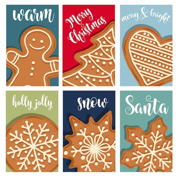 Weihnachtskartensammlung mit lebkuchen Premium Vektoren