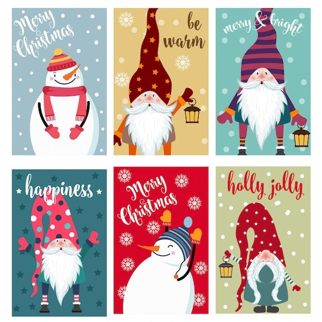Weihnachtskartensammlung mit schneemann und gnomen. etiketten. aufkleber. Premium Vektoren