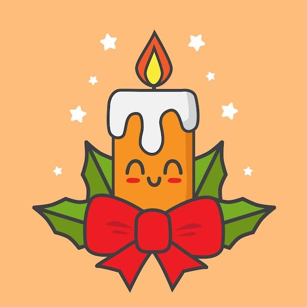 Weihnachtskerze mit bändern lokalisiert auf orange Premium Vektoren