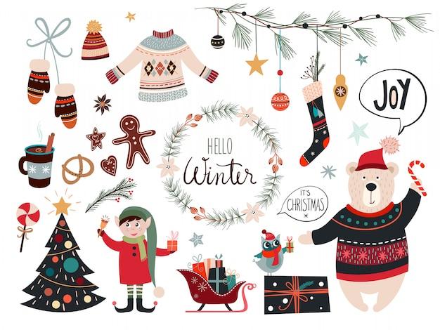 Weihnachtskollektion mit dekorativen saisonalen elementen Premium Vektoren
