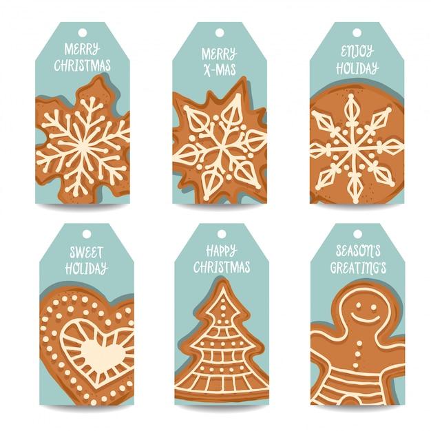 Weihnachtskollektion mit lebkuchen Premium Vektoren