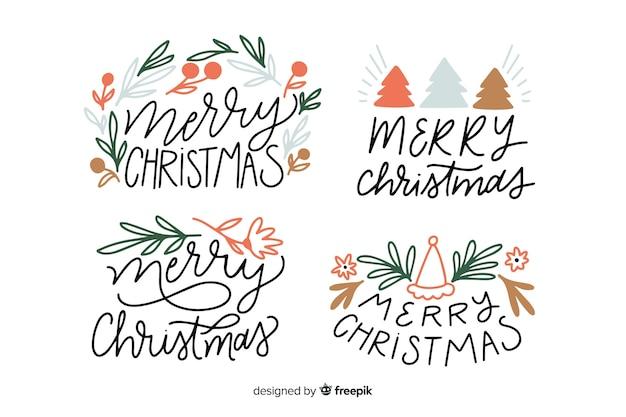 Weihnachtskollektion schriftzug abzeichen Kostenlosen Vektoren