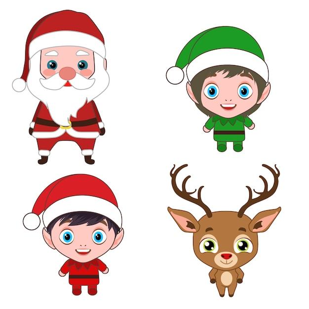 Weihnachtskostüm zeichentrickfiguren Premium Vektoren