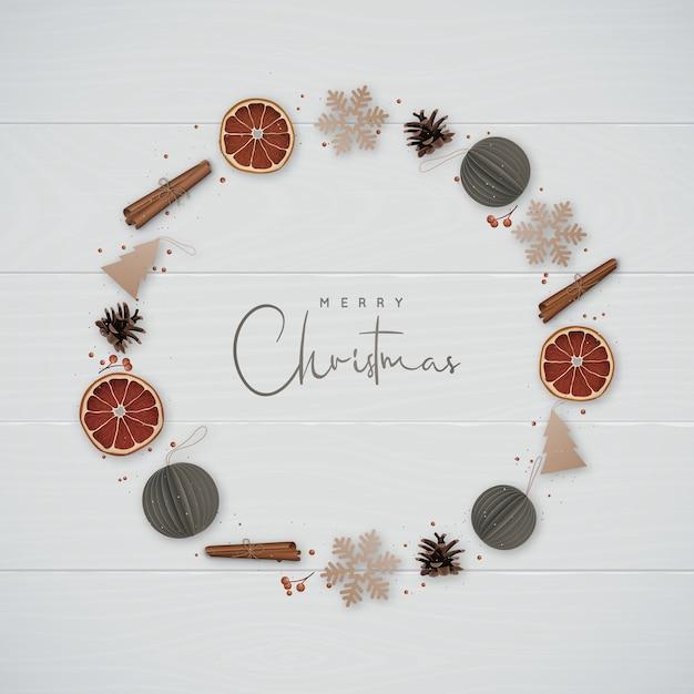 Weihnachtskranz im minimalistischen stil Premium Vektoren