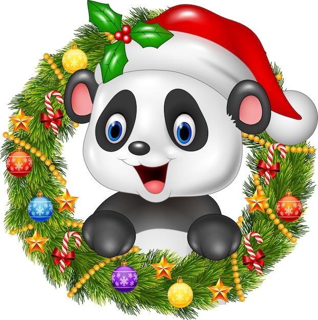 Weihnachtskranz mit glücklichem pandabär Premium Vektoren