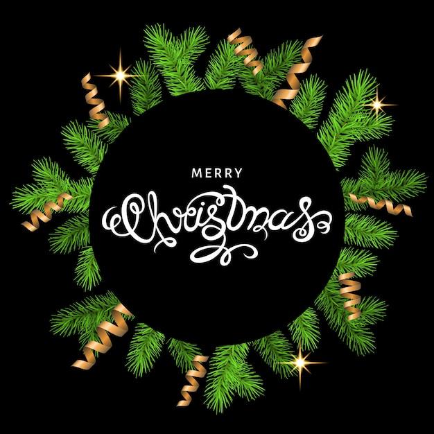 Weihnachtskranz mit goldfalle serpentin und schriftzug auf schwarzem hintergrund Premium Vektoren