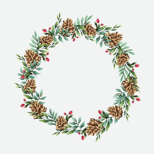 Weihnachtskranz mit kiefernkegel-aquarellartvektor Kostenlosen Vektoren