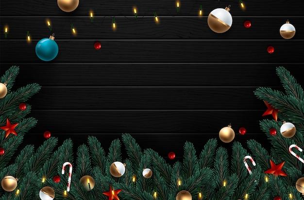 Weihnachtskranz mit rot- und golddekorationen und beeren. Premium Vektoren