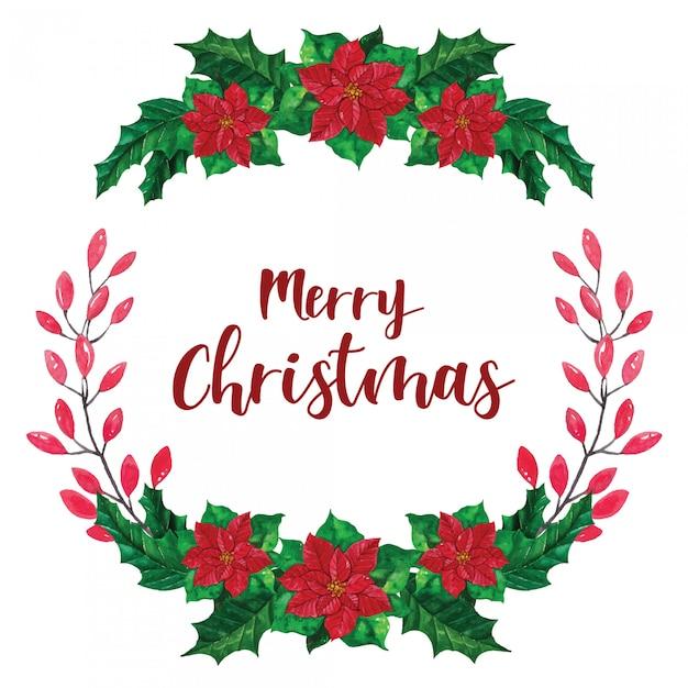 Weihnachtskranz weihnachtsstern aquarell illustration Premium Vektoren