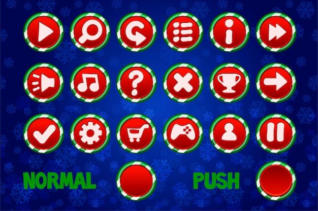 Weihnachtskreis buttons für web Premium Vektoren