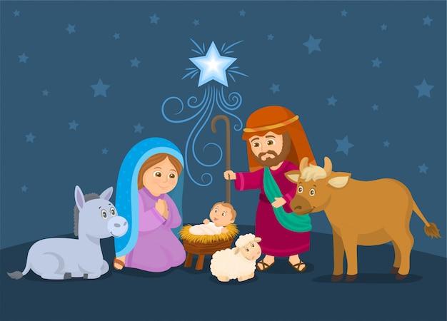 Weihnachtskrippe mit jesuskind, maria und josef. Premium Vektoren