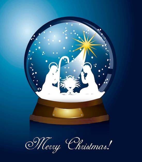 Weihnachtskugel mit krippe über blauem hintergrund Premium Vektoren