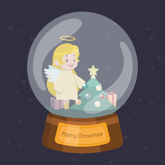 Weihnachtskugel mit niedlichem engel Premium Vektoren