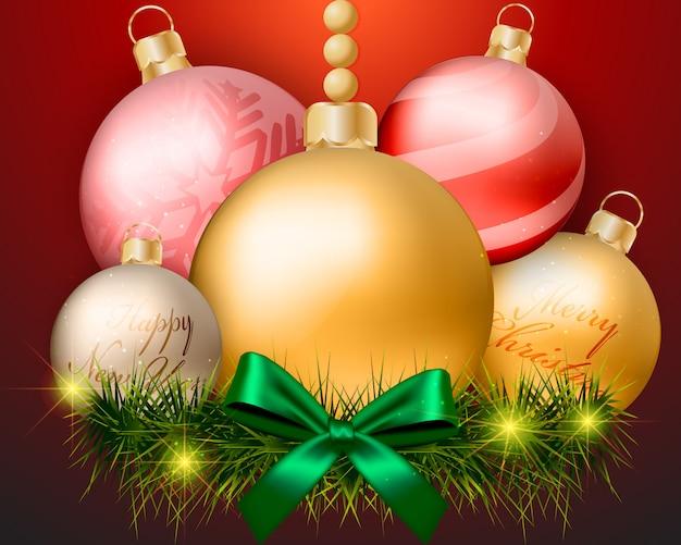 Weihnachtskugeldekorationen auf rotem hintergrunddesign Premium Vektoren