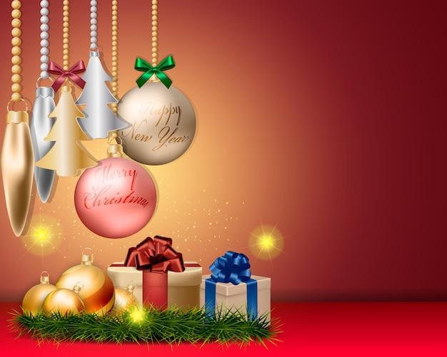 Weihnachtskugeldekorationen und zubehördesign Premium Vektoren
