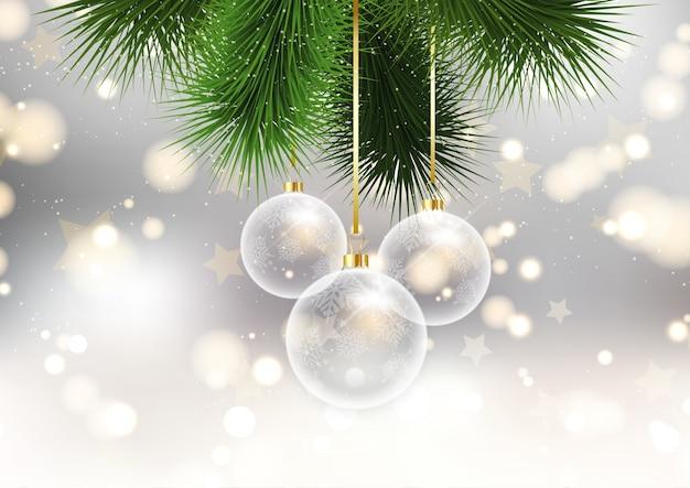 \ Weihnachtskugeln auf Bokeh Lichter Hintergrund Kostenlose Vektoren
