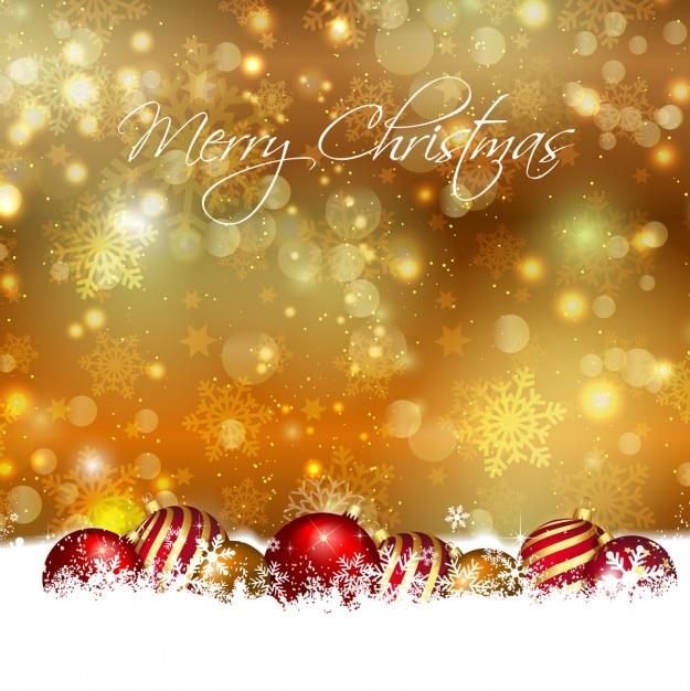 Weihnachtskugeln auf einem goldenen Hintergrund Bokeh Kostenlose Vektoren