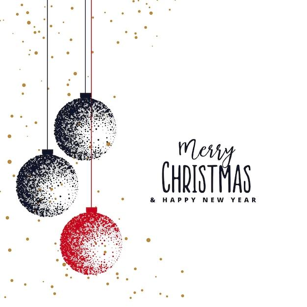Weihnachtskugeln mit Stipple auf weißem Hintergrund gemacht Kostenlose Vektoren