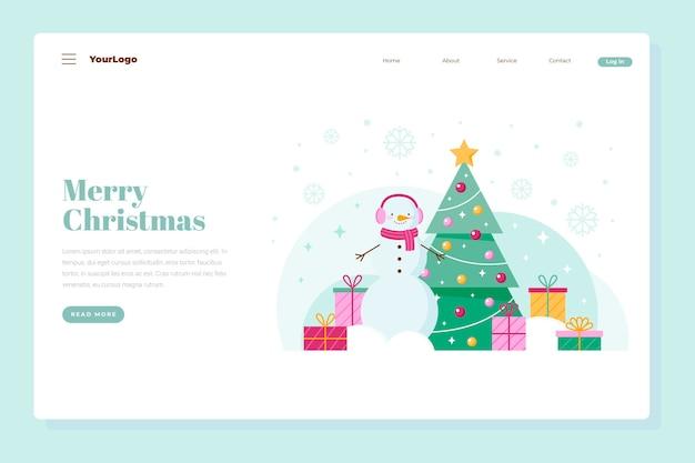 Weihnachtslandeseite mit weihnachtsbaum und geschenken Premium Vektoren
