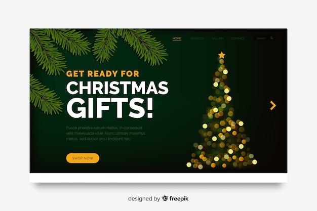 Weihnachtslandingpage mit bokeh-effekt Kostenlosen Vektoren