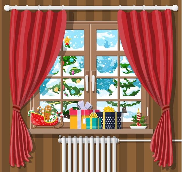 Weihnachtslandschaft mit wald im fenster. innenraum des raumes mit geschenken. frohe weihnachten szene Premium Vektoren