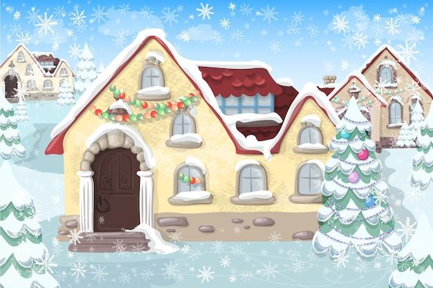 Weihnachtslandschaft mit weihnachtsbaum und haus Premium Vektoren
