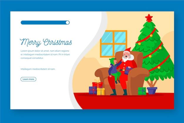 Weihnachtslandungsseite des flachen designs Kostenlosen Vektoren