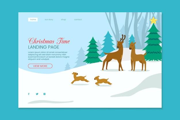 Weihnachtslandungsseite mit ren Kostenlosen Vektoren