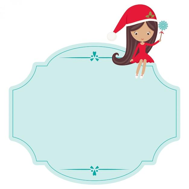 Weihnachtslanger aufkleber mit kleinem mädchen in weihnachtskugel Premium Vektoren