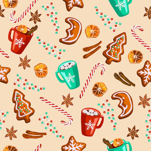 Weihnachtslebkuchen, glühwein, nahtloses muster des kakaos Premium Vektoren