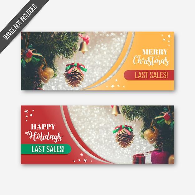 Weihnachtsletzte verkaufsfahnen Kostenlosen Vektoren
