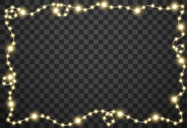 Weihnachtslichter auf transparentem hintergrund Premium Vektoren
