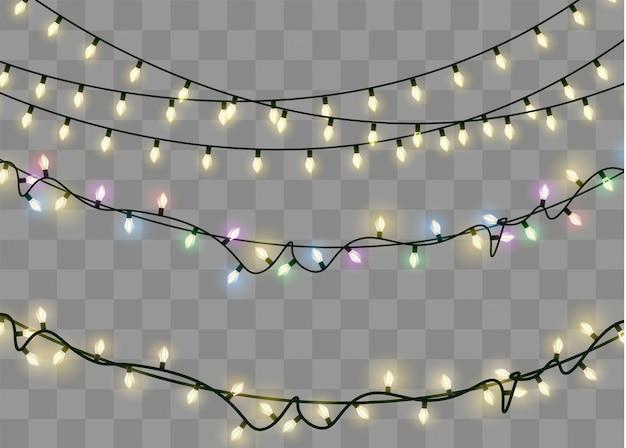 Weihnachtslichter lokalisierten realistische gestaltungselemente. leuchtende lichter für weihnachten holiday.led neonlampe Premium Vektoren