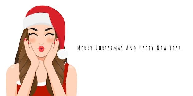 Weihnachtsmädchen blasen einen kuss in rotem kleid und weihnachtsweihnachtsmütze Premium Vektoren