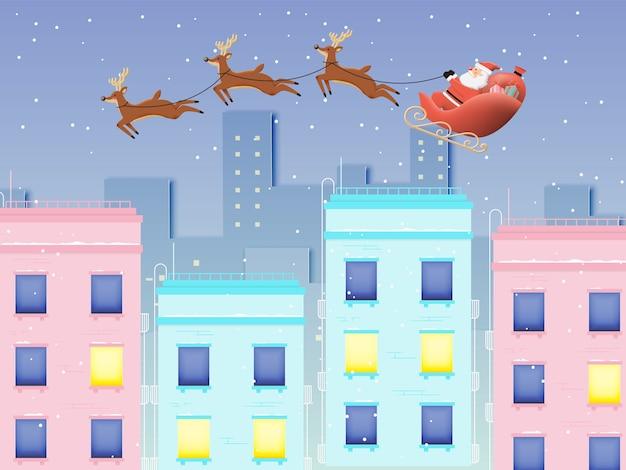 Weihnachtsmann auf dem schlitten mit schönem himmel in der papierkunst Premium Vektoren